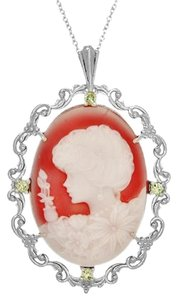 Other Lovely Hand Carved Carnelian Genuine Cameo & Peridot Necklace
