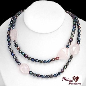 Other Genuine Black Cultured Freshwater Pearls and Pink Quartz