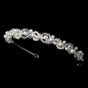 Elegance By Carbonneau Light Ivory Pearl And Crystal Wedding Headband