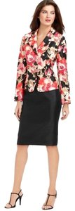 Le Suit LE SUIT NEW Bright Makeover Pink Floral Print Fitted Jacket & Skirt Suit