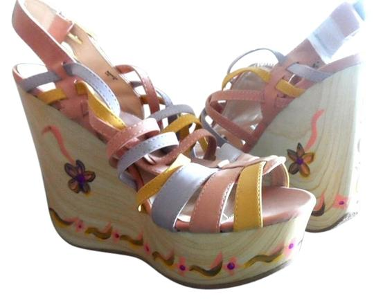 DAZZLE SHOES Hand Painted Light Pink Multi Wedges