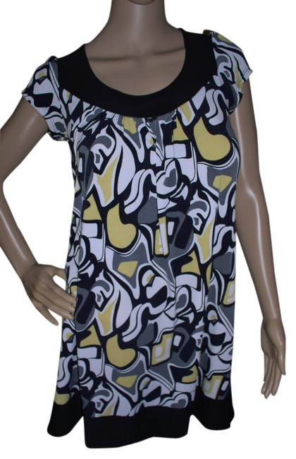 Item - Black White Grey Yellow Above Knee Short Casual Dress Size 12 (L)