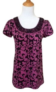 INC International Concepts Em Embellished Top Black / Purple