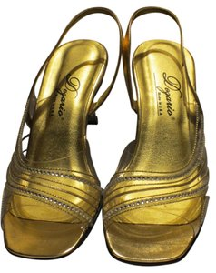 Dezario Very Striking For The Holidays Metallic Gold/Clear Acrylic Heel Sandals