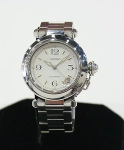 Cartier Cartier Pasha Mm White Dial Stainless Steel Watch Gold Markers