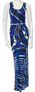 Blue, White Maxi Dress by Emilio Pucci Blue Black Multicolor