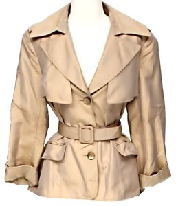 Lafayette 148 New York Silk Longsleeve Trench Coat