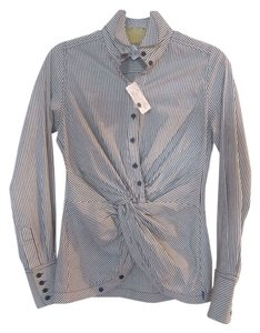 Byron Lars Beauty Mark Top Ivory/Grey stripes