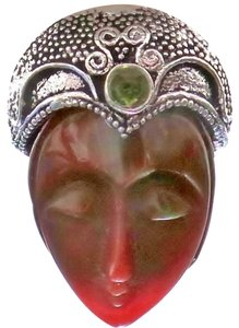 Other CARVED JASPER FACE and PERIDOT STERLING SILVER RING