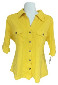 Style & Co Button Down Button Down Shirt Yellow