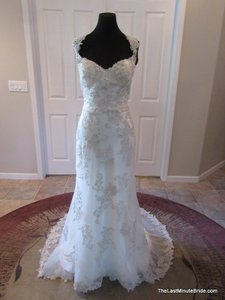 Maggie Sottero Ivory / Silver Lace Jade 5md056 Feminine Wedding Dress Size 10 (M)