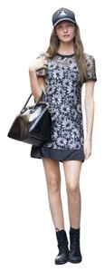 Marc by Marc Jacobs short dress Black Lace Embroidered Floral White Grey Silk Sateen Satin Round Neck Zipper Short Sleeve on Tradesy