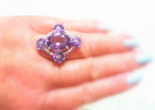 Other NATURAL RICH PURPLE AMETHYST and WHITE TOPAZ 925 STERLING SILVER RING 8.5