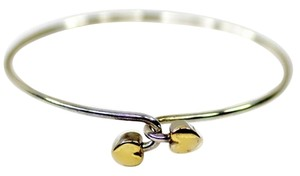 Tiffany & Co. Authentic Tiffany & Co. Sterling Silver & 18K Gold Double Heart Bangle Bracelet