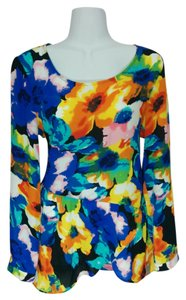 NY Collection Ny Medium Floral Asymmetrical Long Sleeves Top Multi-color