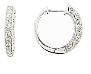 14K WHITE GOLD 1 CT TW DIAMOND HOOP EARRINGS