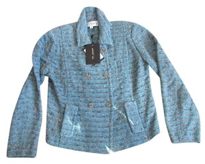 St. John BNWT St. John Aqua Blue Tweed Knit Jacket Blazer