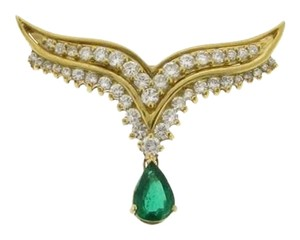 MUST HAVE - 18K Yellow Gold Diamond Emerald NECKLACE/ PENDANT/CHAIN TRIM