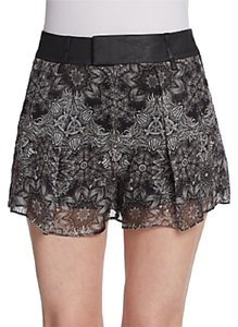 Helmut Lang Silk Patterned Floral Printed Mini/Short Shorts Black