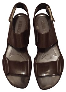 Marni Jelly Plastic Shine Flats Casual Brown Sandals
