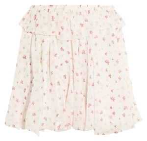 Band of Outsiders Floral Shear Layered Mini Flowy Mini Skirt Cream/Pink