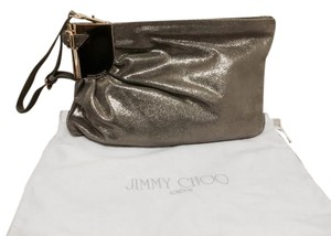 Jimmy Choo Giant Metallic Shiny Night Out Date Night Prom Club Leather Winter Fall Mercury Clutch