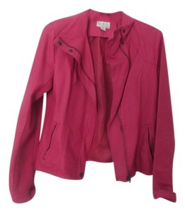 RD Style Faux Leather dark pink Leather Jacket
