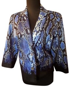 Michael Kors Python Snakeskin Short Jacket Button Down Shirt Blue/Black