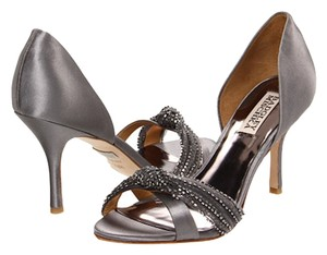 Badgley Mischka Christian Louboutin Silk Beaded Heels Stilletos Wedding Event Manolo Blahnik Crystal Satin Grey Pumps