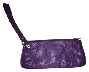 Club Monaco Silver Hardware Zip Closure Clutch Leather Wristlet in Purple