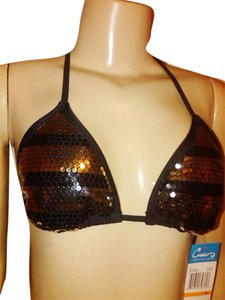 California Waves Black with Silver and Gold Sequin Triangle Adjustable Bra swim wear. Size Small