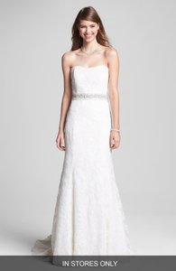 Monique Lhuillier Ivory Lace Crystal Beaded A-line Sweetheart Classic Elegant Bliss Floral Vintage Wedding Dress Size 8 (M)