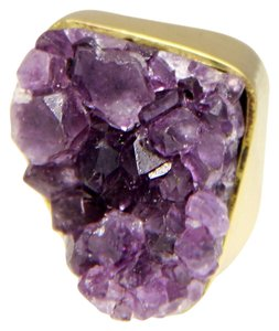 Gemstone Jewelry Gold Amethyst Druzy Quartz Cocktail Ring