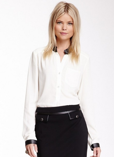 Patrizia Luca Button Down Professional Hot Shirt Sleeves Black Faux Leather Trim Buttons Top White
