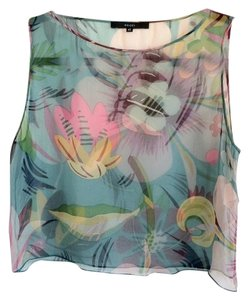 Gucci Floral 100% Silk Tank Top Multi Aqua, fuchsia, light pink, and charcoal