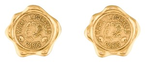Karl Lagerfeld Karl Lagerfeld Vintage 90s Gold Wax Seal Coin Earrings