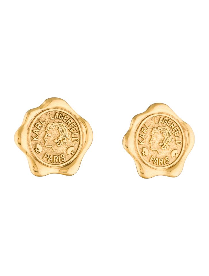 Karl Lagerfeld Gold Vintage 90s Wax Seal Coin Earrings - Tradesy