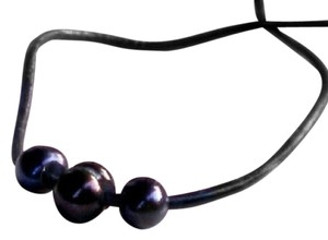 Other Handmade Rusric Necklace 3 Blaclk Freshwater Pearls On Black Leather Choker