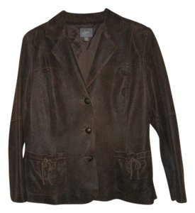 J. Jill Leather Leather Blazer Brown Leather Jacket