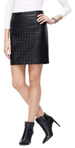 Ann Taylor Leather Faux Leather Mini Skirt Black Leather