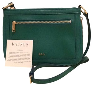 Ralph Lauren Leather Zipper Green Cross Body Bag