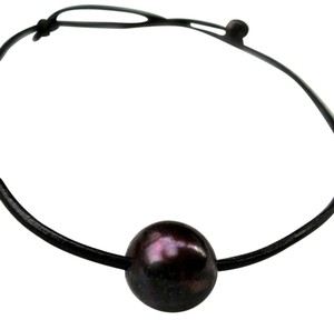 Other Black LEATHER CHOKER NECKLACE Single Freshwater BLCK PEARL Handcrafted ARTISAN GIFT