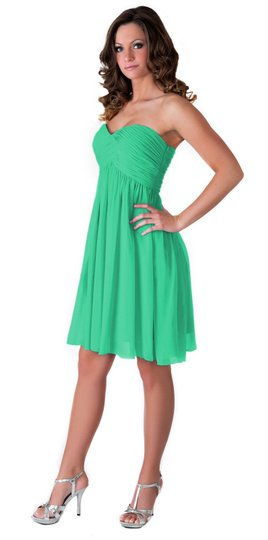 Green Chiffon Strapless Sweetheart Pleated Bust Feminine Bridesmaid/Mob Dress Size 8 (M)
