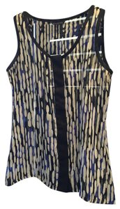 Banana Republic Blouse Women's Clothing Top Black, White, Blue Multicolor