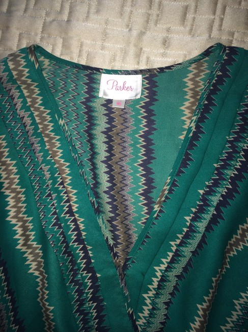 Parker Silk Multicolored Quarter Length Top Green