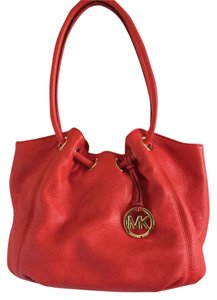 Michael Kors Pebbled Soft Leather Tote in Mandarin