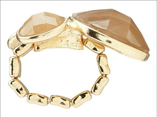Leslie Danzis 14k Gold Faceted Stone Cluster Stretch Ring