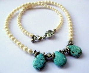 Turquoise Freshwater Pearl Sterling Silver Heartship Handmade Tears Necklace
