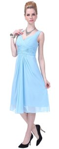 Blue Graceful V-neck Pleated-waist Tea Length Chiffon Dress