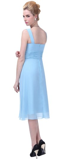 Blue Chiffon Graceful V-neck Pleated-waist Tea Length Feminine Bridesmaid/Mob Dress Size 4 (S)